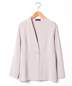 【大きいサイズ】ミラノリブ チェック柄ニットジャケット