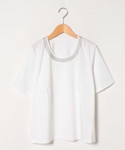 【大きいサイズ】コットンハイゲージスムース×刺繍カットソー
