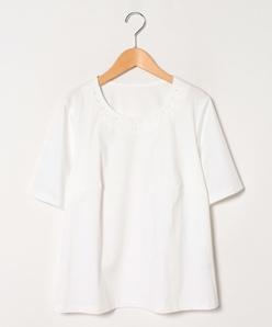 【大きいサイズ】【洗える】コットンクールスムース×刺繍カットソー
