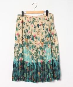 【大きいサイズ】インポート素材 シフォン花柄パネルプリントスカート