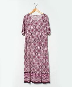 【大きいサイズ】【洗える】ジョイクール幾何柄パネルプリントドレス