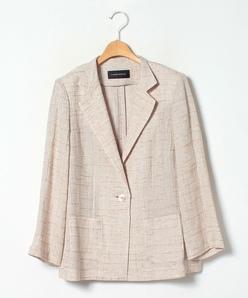【大きいサイズ】リネンチェックジャカードジャケット