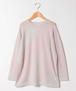【アンサンブル対応】【大きいサイズ】カシミヤ混 フェアリーテール配色セーター