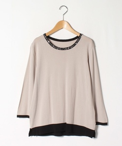 【大きいサイズ】【アンサンブル対応】14G 天竺×ビーズ・スパンコール 刺繍セーター
