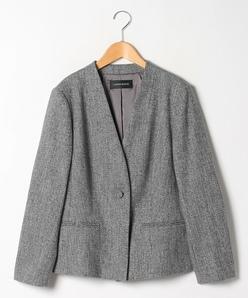 【大きいサイズ】【セットアップ対応】シルク混ツィードジャケット
