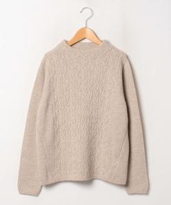 【大きいサイズ】【アンサンブル対応】カシミヤ ケーブル柄×天竺表目セーター