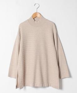 【大きいサイズ】天竺×柄編み ハイネックセーター