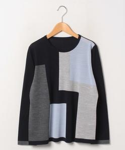 【大きいサイズ】14G 天竺インターシャクルーネックセーター
