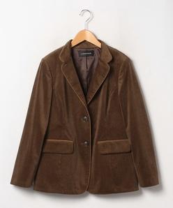 【大きいサイズ】インポート素材 フレンチコールテーラードジャケット
