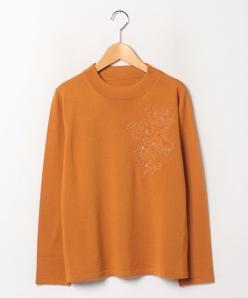 【大きいサイズ】インポート素材 天竺表目×レース スタンドネックセーター