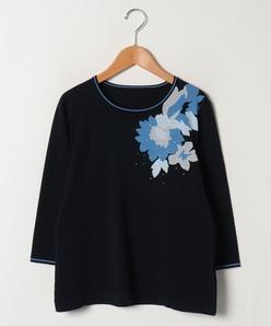 【大きいサイズ】花柄インターシャセーター