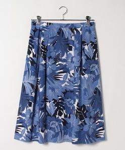 【大きいサイズ】麻混ボイル 花柄プリントスカート