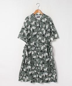 【大きいサイズ】【洗える】インポート素材 コットンボイルリーフプリントドレス