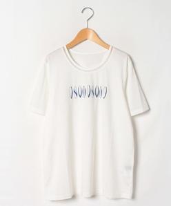 【大きいサイズ】【洗える】ロイヤルクールスムース×刺繍カットソー