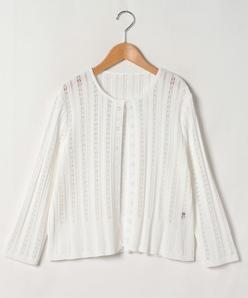 【大きいサイズ】【洗える】透かし編み ボレロカーディガン