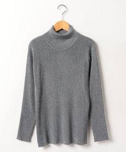 【大きいサイズ】ラメ入り リブタートルネックセーター