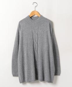 【大きいサイズ】ハイネック ケーブルポイントセーター