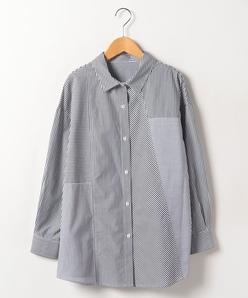 【大きいサイズ】【洗える】コットンブロード ストライプシャツ