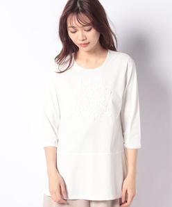 花柄刺繍チュニックTシャツ