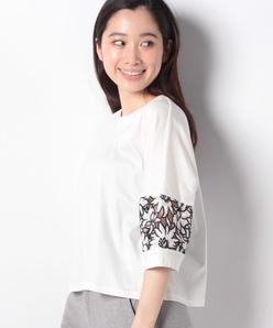 【洗える】袖レースTシャツ