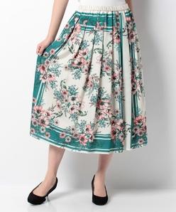 【セットアップ対応商品】フラワーパネルプリント フレアスカート
