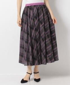 【洗える】サテンビエラチェック サーキュラースカート