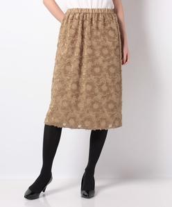 花柄カットジャカード フレアスカート