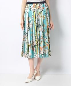 【洗える】【セットアップ対応】インポート素材 ストライプ花柄プリントスカート