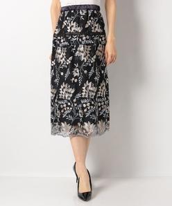【セットアップ対応】花柄刺繍スカート