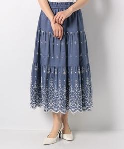 【洗える】コットンタイプライター 刺繍スカート