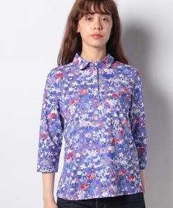 【洗える】フラワープリント天竺 ポロシャツ