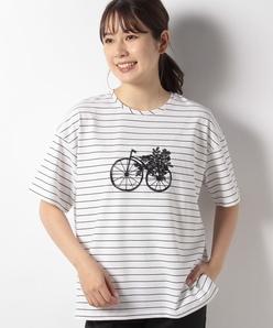 【洗える】コットンベア天竺ボーダー サイクルプリントカットソー