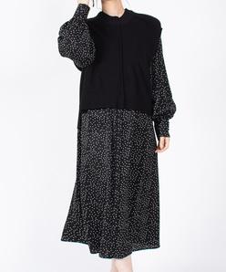 バルキーニット+シャツドレス