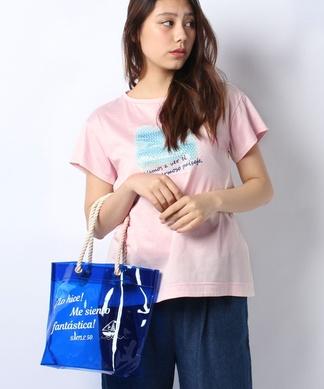 スパンコールプリントTシャツ+クリアバッグSET