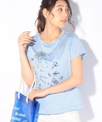 マリンモチーフTシャツ+クリアバッグSET