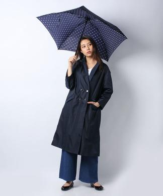 【レイン】ポーチ付きコートと折りたたみ傘(ドット)