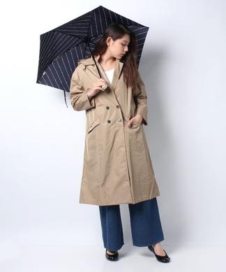 【レイン】ポーチ付きコートと折りたたみ傘(ボーダー)
