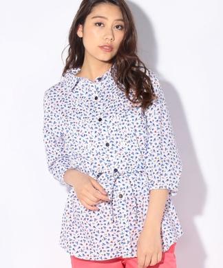 【MATCH POINT】幾何学柄のパフスリーブシャツ