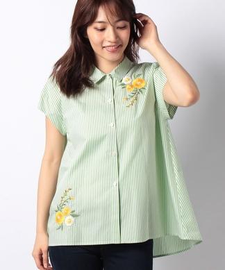 【STORY6月号掲載】フラワー刺繍ストライプシャツ