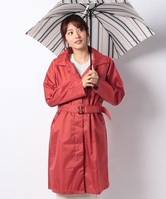 【レイン】ポーチ付きコートと折りたたみ傘(配色ストライプ)