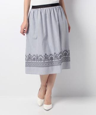 【特別提供品】ストライプ×刺しゅうのフレアスカート