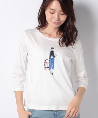 イラストプリント7分袖Tシャツ