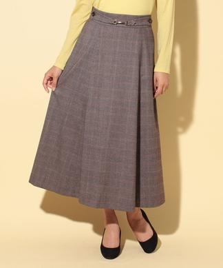 ビット付グレンチェックのロングフレアスカート