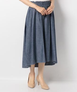 【特別提供品】シャンブレーのフレアスカート