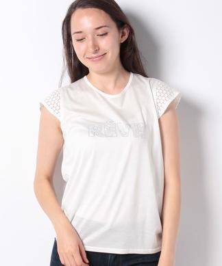 【特別提供品】レースMIXのロゴTシャツ