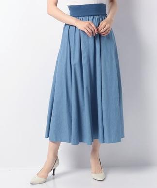 【特別提供品】ウエストリブのマキシデニムスカート