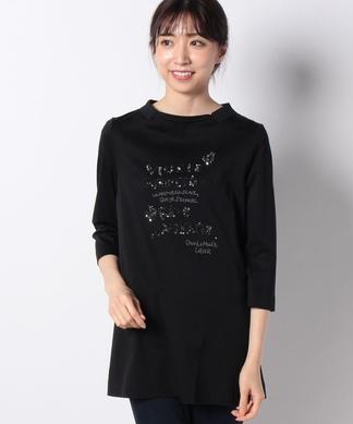 ショールカラーのメッセージTシャツ