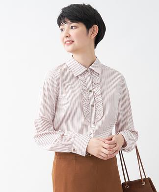 ストライプフリルシャツ