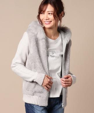 【LISA CONTE】 羊革とカシミヤの異素材MIXジャケット