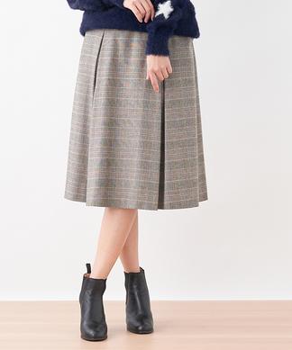 グレンチェック柄ミディ丈スカート